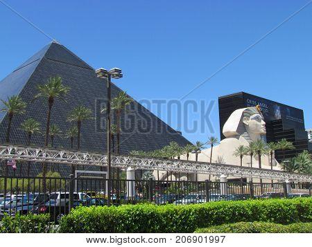 Las Vegas Nevada USA, 21 July 2011: Front view on Luxor Casino Hotel in Las Vegas