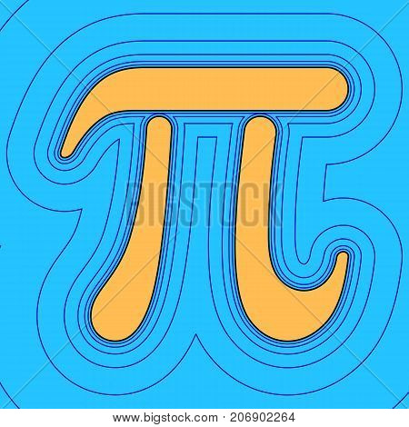 Pi greek letter sign. Vector. Sand color icon with black contour and equidistant blue contours like field at sky blue background. Like waves on map - island in ocean or sea.
