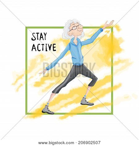 Elderly gray-haired man practicing Taiji or Wushu gymnastics in nature. Active lifestyle and sport activities in old age. Template of poster for a sport club. Vector illustration.