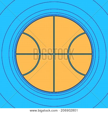 Basketball ball sign illustration. Vector. Sand color icon with black contour and equidistant blue contours like field at sky blue background. Like waves on map - island in ocean or sea.
