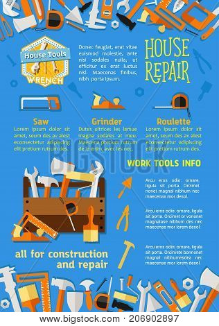 House repair work tools poster flat design. Vector handyman toolbox set of hammer, renovation drill or saw and carpentry ruler, screwdriver or plastering trowel and paintbrush or construction wrench