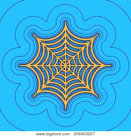 Spider on web illustration. Vector. Sand color icon with black contour and equidistant blue contours like field at sky blue background. Like waves on map - island in ocean or sea.
