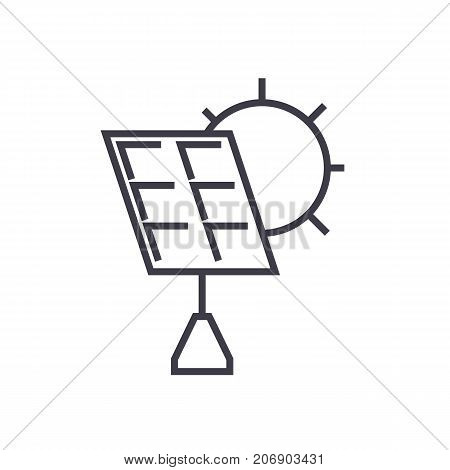 solar battery vector line icon, sign, illustration on white background, editable strokes