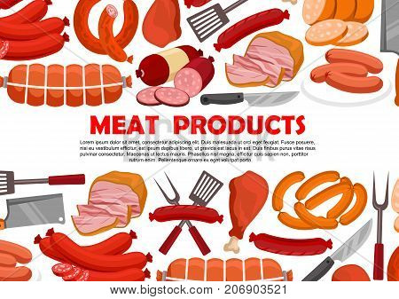 Meat products and sausages for butcher shop. Vector delicatessen of bacon, ham or pork brisket and salami with pepperoni and cervelat, lyon grill sausage or kielbasa wurst and frankfurter bratwurst