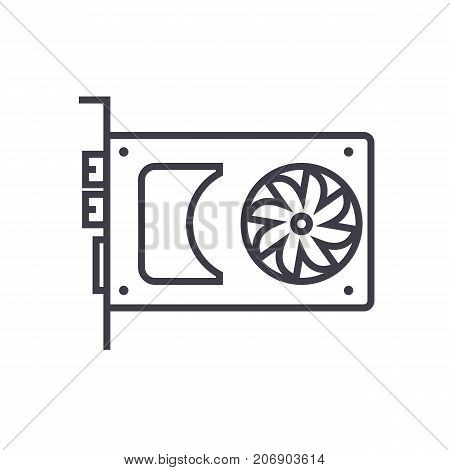 sound card, video card vector line icon, sign, illustration on white background, editable strokes