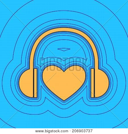 Headphones with heart. Vector. Sand color icon with black contour and equidistant blue contours like field at sky blue background. Like waves on map - island in ocean or sea.