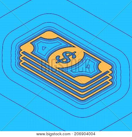 Bank Note dollar sign. Vector. Sand color icon with black contour and equidistant blue contours like field at sky blue background. Like waves on map - island in ocean or sea.