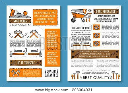 Home renovation and house repair posters of carpentry work tools, Vector sketch wheelbarrow, woodwork grinder and handyman hammer, saw or drill and toolbox of ruler, screwdriver or plastering trowel