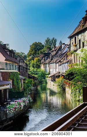 Traditional French Houses And Shops In Colmar, Alsace, France