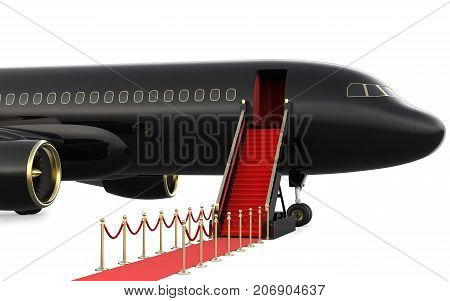 Ladder private jet and red carpet, 3d rendering isolated on white background.