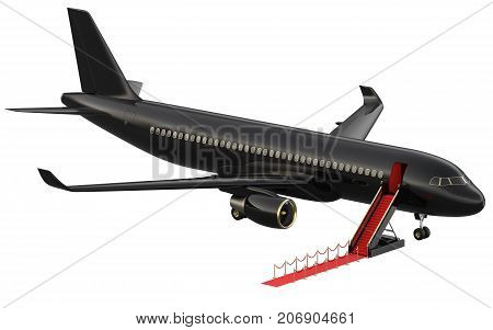 Black reactive private jet. White private-jet and open ladder, red carpet at the airpor. 3d rendering isometric illustration. Business airlines