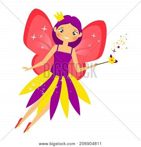 Beautiful flying fairy in crown flapping magic stick. Elf princess with wand. Cartoon style. Isolated Vector illustration in cartoon style for kids and babies
