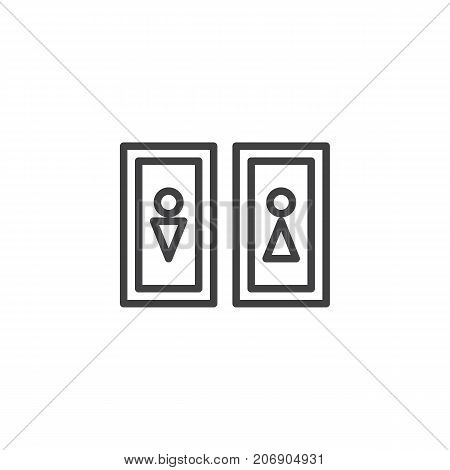 Restroom line icon, outline vector sign, linear style pictogram isolated on white. WC Symbol, logo illustration. Editable stroke
