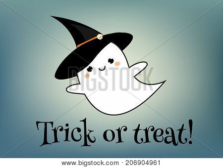 Happy halloween greeting card design template. Holiday banner with cute ghost in kawaii style and trick or treat text. Party invitation background