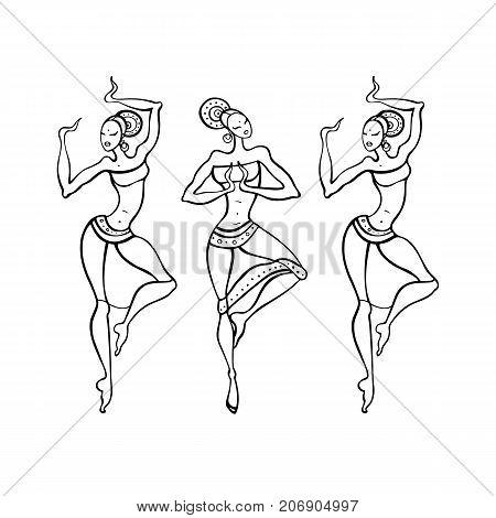 Beautiful Indian dancers. Ethnic dance. Dancing silhouettes Vector illustration