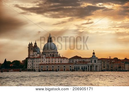 Venice  Church Santa Maria della Salute at sunset in Italy.