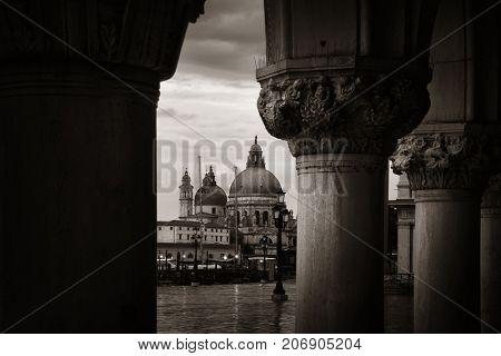 Venice Church Santa Maria della Salute with columns in Italy.