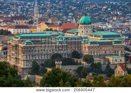 Budapest Hungary - The beautiful Buda Castle Royal Palace with the Buda hills and the Matthias Church at background