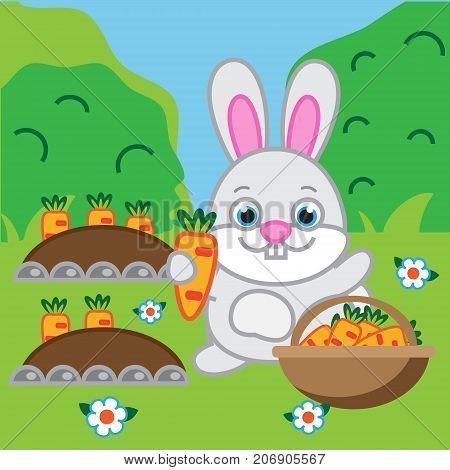 Rabbit holding carrot. Hare bunny in the garden. Vector illustration for kids