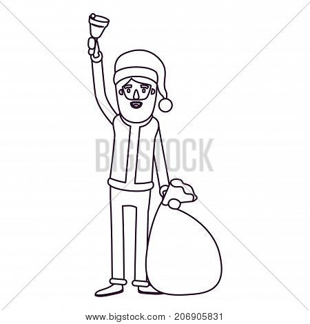 santa claus caricature full body holding a hand bell and gift bag with hat and costume silhouette on white background vector illustration