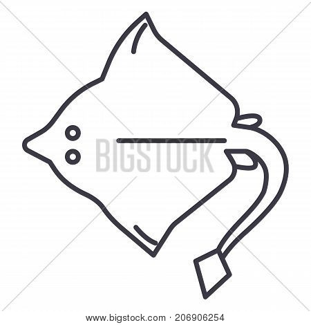 stingray vector line icon, sign, illustration on white background, editable strokes
