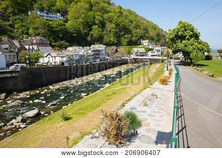 LYNMOUTH, DEVON, ENGLAND, UK-MAY 10TH 2017: Beautiful spring sunshine and clear blue skies were enjoyed by visitors to Lynmouth, Devon, on Wednesday 10th May 2017