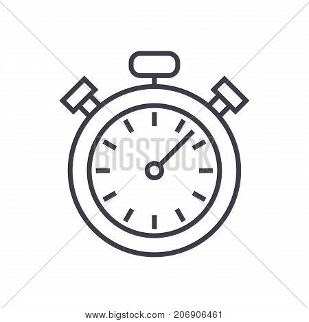 stopwatch, timer vector line icon, sign, illustration on white background, editable strokes