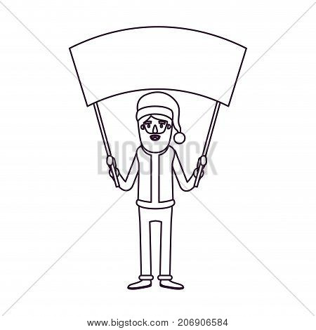 santa claus caricature full body holding a empty poster advertising with hat and costume silhouette on white background vector illustration