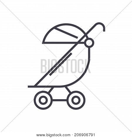stroller, buggy vector line icon, sign, illustration on white background, editable strokes