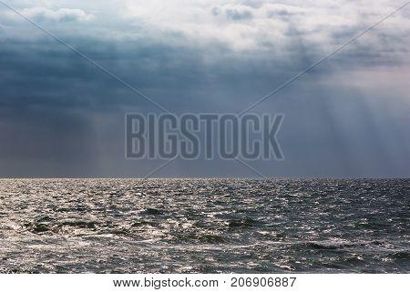 storm clouds seascape background. Sea landscape and overcast dark sky