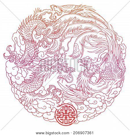 traditional oriental dragon and phoenix vector illustration