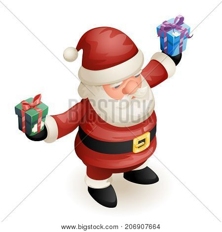 Santa Claus Grandfather Frost Hold Gift Box Cute Isometric 3d Christmas New Year Cartoon Character Design Isolated Icon Template Vector Illustration