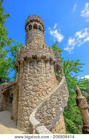 Regaleira Tower in Sintra historic center, Lisbon District, Portugal. Sunny day in the blue sky.