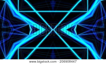 Vj Fractal Blue Kaleidoscopic Background. Background Motion With Fractal Design. Disco Spectrum Ligh