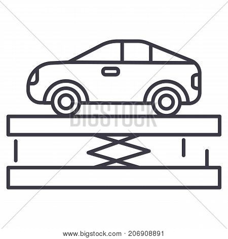 suspension, car service vector line icon, sign, illustration on white background, editable strokes