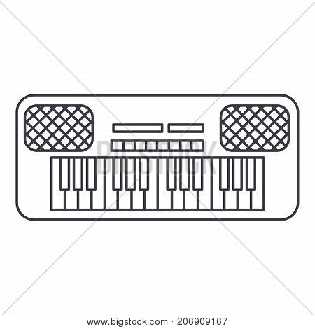 synthesizer vector line icon, sign, illustration on white background, editable strokes