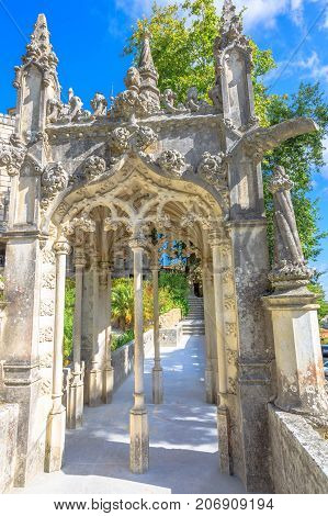 Architecture elements of Regaleira Palace in historic center of Sintra, Portugal, Europe. Gothic style details of Quinta da Regaleira.