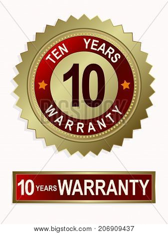 Round and rectangular emblems of golden color with a text of ten years of warranty