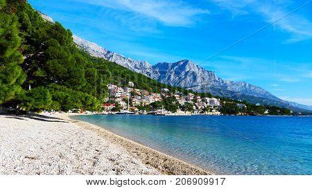Croatian sea view with mountains, Tucepi, Croatia