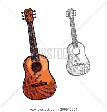 Guitar string musical instrument. Vector sketch symbol of folk or classic acoustic guitar, banjo or ukulele of plucking type ethnic music concert or festival design