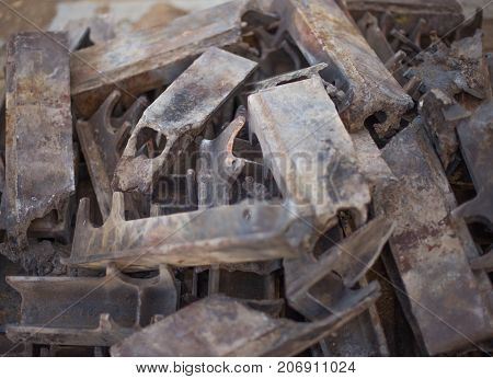 A Bunch Of Burnt-out Cast Iron Parts Of The Industrial Firebox