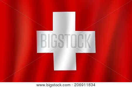 Switzerland flag 3D symbol of white cross on red background. Swiss republic country official national flag waving with curved fabric or waves vector texture