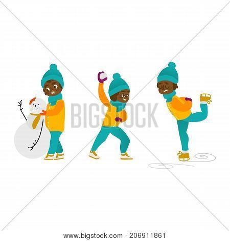 vector boy having fun enjoying riding ice skates, boy making sniwman, boy playing snowballs set. Flat cartoon isolated illustration. Kid enjoy snow outdoors. Winter children activity concept poster