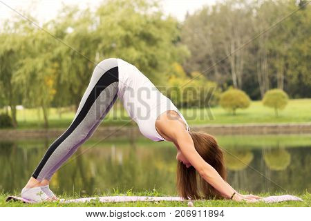 Young Woman Doing Yoga Asana Downward Facing Dog In The Park On The Riverside. Adho Mukha Shvanasana