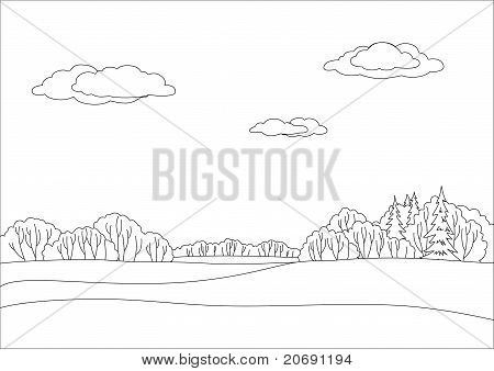 landscape, monochrome contours: forest and sky with clouds poster