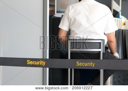 Scanner machine at the airport security checkpoint