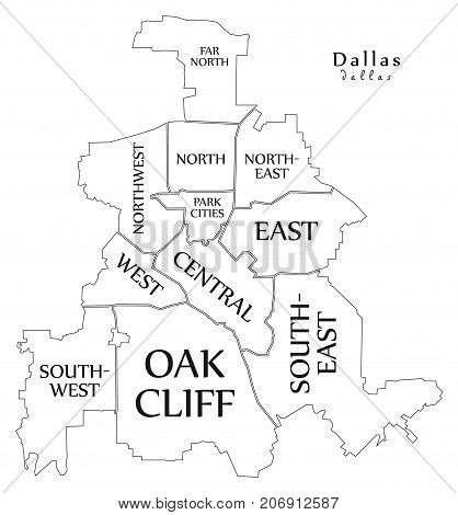 Modern City Map - Dallas Texas City Of The Usa With Boroughs And Titles Outline Map