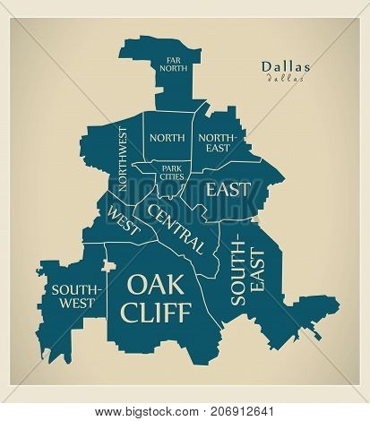 Modern City Map - Dallas Texas City Of The Usa With Boroughs And Titles