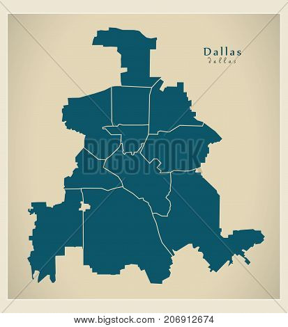 Modern City Map - Dallas Texas City Of The Usa With Boroughs