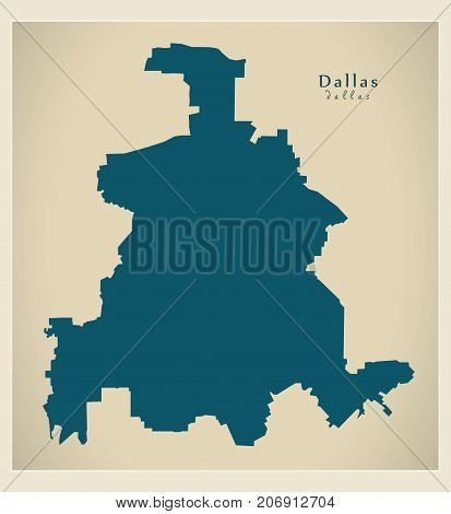 Modern Map - Dallas Texas City Of The Usa